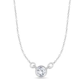 Marquee Jewels 14k White Gold 1/2ct TDW Bezel-set Diamond Solitaire Pendant (I-J, I2-I3)