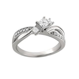 Montebello 14k White Gold 2/5ct TDW Princess Three-stone Diamond Ring