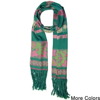 Handmade Saachi Women's Fringe Floral Stripes Scarf (India)