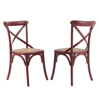 Adeco Red Vintage-style Modernized Elm Wood Deep Dining Chair (Set of 2)