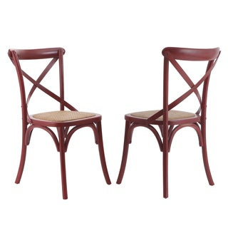 Red Vintage-style Modernized Elm Wood Deep Dining Chair (Set of 2)