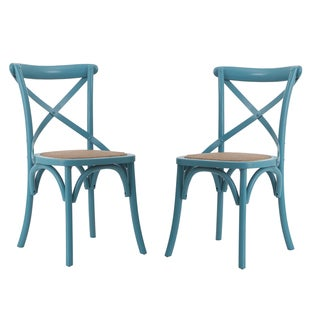 Adeco Light Blue Elm Wood Rattan Vintage-style Dining Chairs (Set of 2)