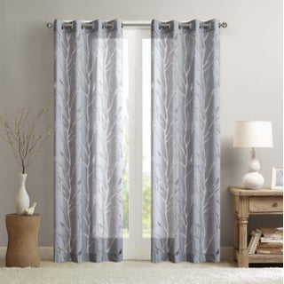 Madison Park Vina Sheer Bird Curtain Panel (4 options available)
