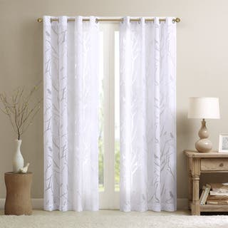 madison park vina sheer bird curtain panel - White Sheer Curtains