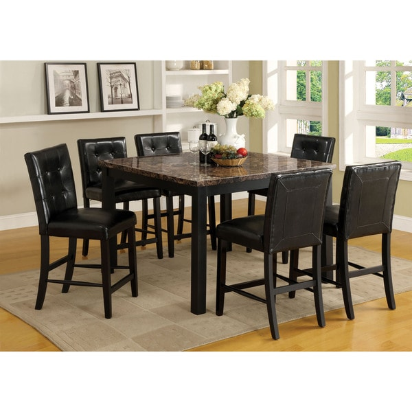 Furniture Of America Perthien 7 Piece Counter Height Faux Marble Dining Set