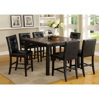 Furniture of America Perthien 7-Piece Counter Height Faux Marble Dining Set