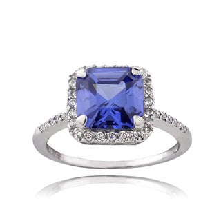 Icz Stonez Sterling Silver 2 1/3tc TGW Violet Cubic Zirconia Asscher Cut Ring