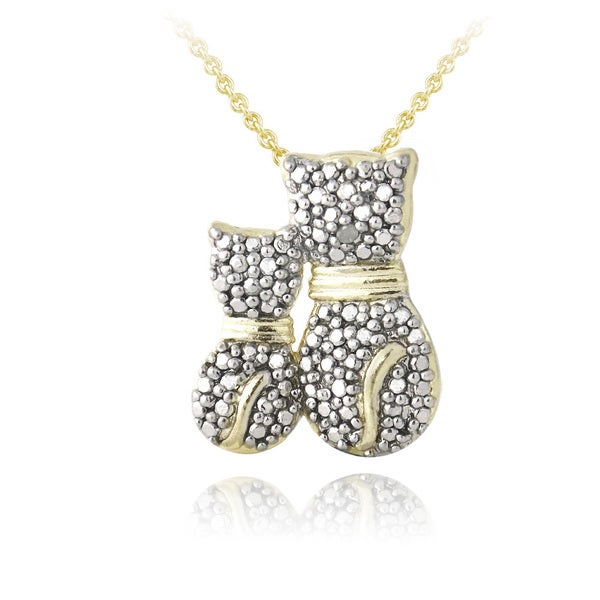 DB Designs 18k Gold Over Silver Diamond Accent Adoring Parent Cat Necklace