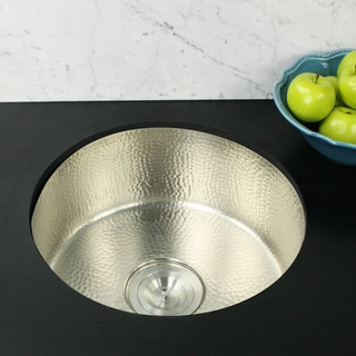 Highpoint Collection 18 inch Round Hammered Undermount Bar / Prep Sink in Satin Nickel with Colander Drain