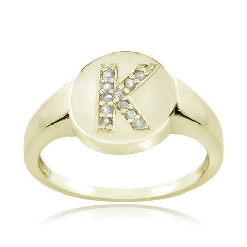 DB Designs Sterling Silver 1/10ct TDW Diamond K Initial Ring