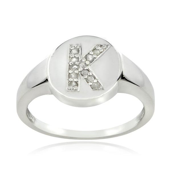 DB Designs Sterling Silver 1/10ct TDW Diamond K Initial Ring