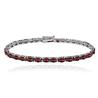 Glitzy Rocks Sterling Silver 10.5ct African Garnet Oval Tennis Bracelet