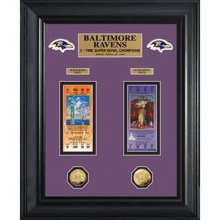 NFL Baltimore Ravens Super Bowl Ticket and Game Coin Collection Framed