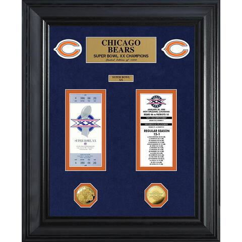 NFL Chicago Bears Super Bowl Ticket and Game Coin Collection Framed
