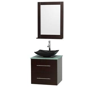 Wyndham Collection Centra 24-inch Single Bathroom Vanity in Espresso, w/ Mirror (Black Granite, Ivory Marble or White Carrera)