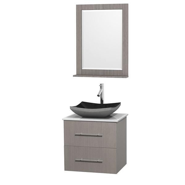 Shop Wyndham Collection Centra 24 Inch Single Bathroom Vanity In Grey Oak W Mirror Black