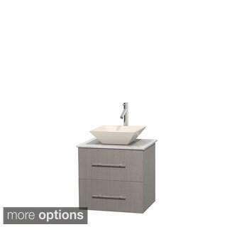 Wyndham Collection Centra 24-inch Single Bathroom Vanity in Grey Oak, No Mirror (Bone Porcelain or White Porcelain)