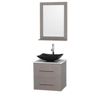 Wyndham Collection Centra 24-inch Single Bathroom Vanity in Grey Oak, w/ Mirror (Black Granite, Ivory Marble or White Carrera)