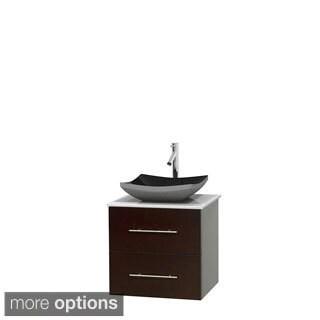 Wyndham Collection Centra 24-inch Single Bathroom Vanity in Espresso, No Mirror (Black Granite, Ivory Marble or White Carrera)