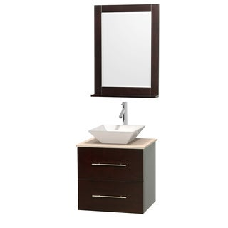 Wyndham Collection Centra 24-inch Single Bathroom Vanity in Espresso, w/ Mirror (Bone Porcelain or White Porcelain)