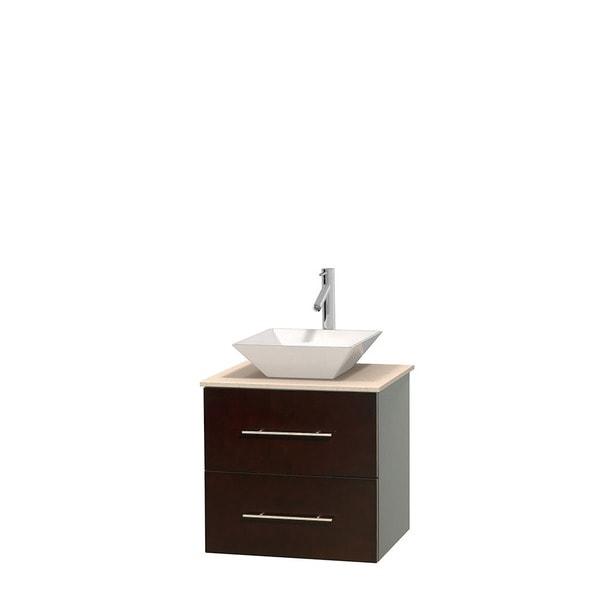 Wyndham Collection Centra 24-inch Single Bathroom Vanity in Espresso, No Mirror (Bone Porcelain or White Porcelain)