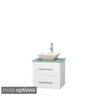 Wyndham Collection Centra 24-inch Single Bathroom Vanity in White, No Mirror (Bone Porcelain or White Porcelain)