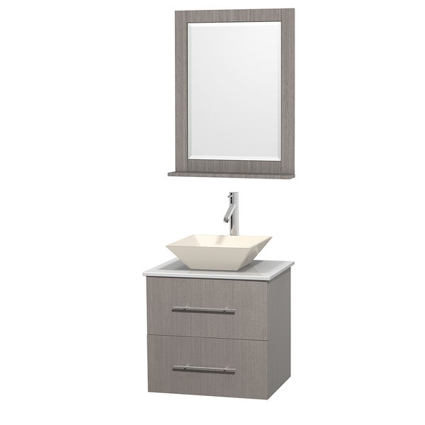 Wyndham Collection Centra 24-inch Single Bathroom Vanity in Grey Oak, w/ Mirror (Bone Porcelain or White Porcelain)