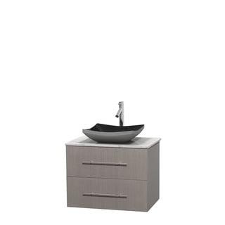 Wyndham Collection Centra 30-inch Single Bathroom Vanity in Grey Oak, No Mirror (Black Granite, Ivory Marble or White Carrera)