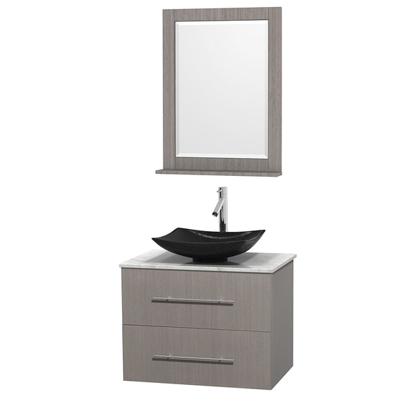Wyndham Collection Centra 30-inch Single Bathroom Vanity in Grey Oak, w/ Mirror (Black Granite, Ivory Marble or White Carrera)