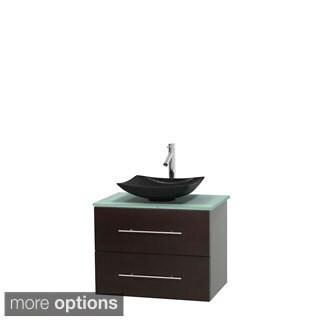 Wyndham Collection Centra 30-inch Single Bathroom Vanity in Espresso, w/ Mirror (Bone Porcelain or White Porcelain)