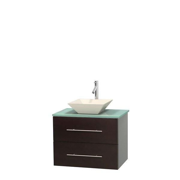 Wyndham Collection Centra 30-inch Single Bathroom Vanity in Espresso, No Mirror (Bone Porcelain or White Porcelain)