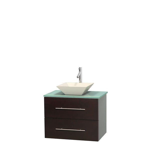 Wyndham Collection Centra 30-inch Single Bathroom Vanity in Espresso, No Mirror (Bone Porcelain or White Porcelain)