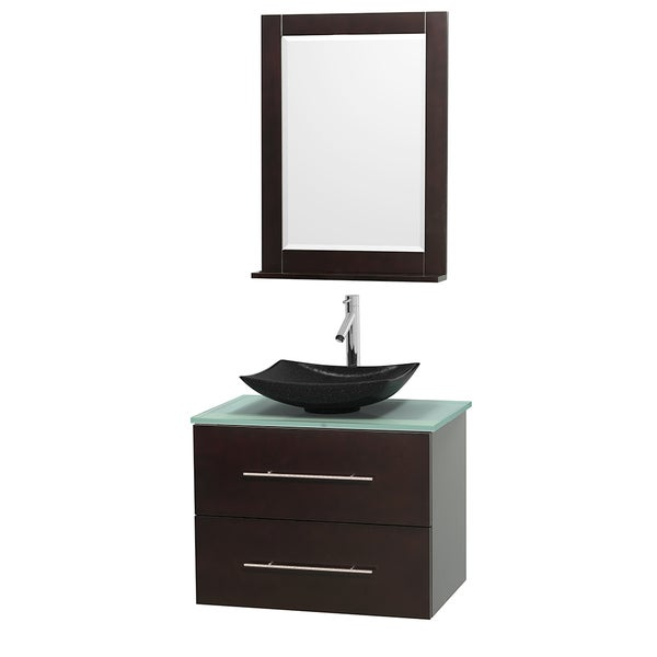 Wyndham Collection Centra 30-inch Single Bathroom Vanity in Espresso, w/ Mirror (Black Granite, Ivory Marble or White Carrera)