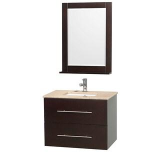 Wyndham Collection Centra 30-inch Single Bathroom Vanity in Espresso, with Mirror