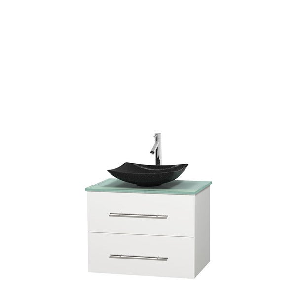 Wyndham Collection Centra 30-inch Single Bathroom Vanity in White, No Mirror (Black Granite, Ivory Marble or White Carrera)