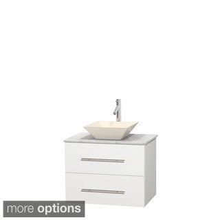 Wyndham Collection Centra 30-inch Single Bathroom Vanity in White, No Mirror (Bone Porcelain or White Porcelain)
