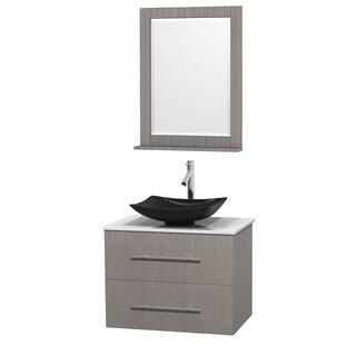 Wyndham Collection Centra 30-inch Single Bathroom Vanity in Grey Oak, w/ Mirror (Black Granite, Ivory Marble or White Carrera)
