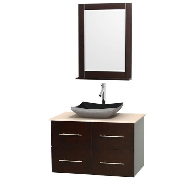 Wyndham Collection Centra 36-inch Single Bathroom Vanity in Espresso, w/ Mirror (Black Granite, Ivory Marble or White Carrera)