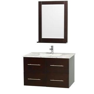 Wyndham Collection Centra 36-inch Single Bathroom Vanity in Espresso, with Mirror