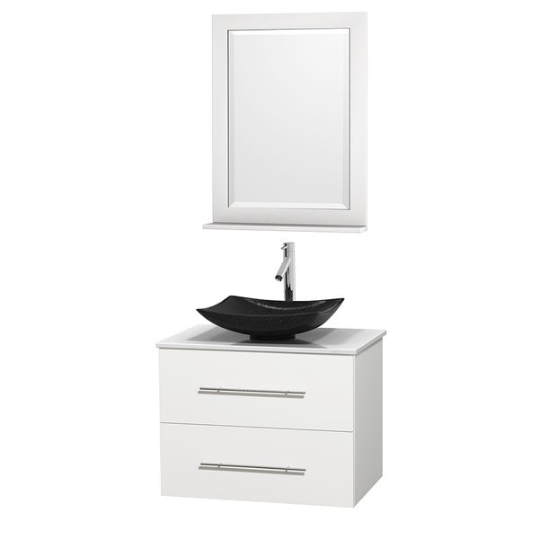 Wyndham Collection Centra 30-inch Single Bathroom Vanity in White, w/ Mirror (Black Granite, Ivory Marble or White Carrera)
