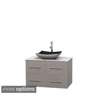 Wyndham Collection Centra 36-inch Single Bathroom Vanity in Grey Oak, No Mirror (Black Granite, Ivory Marble or White Carrera)