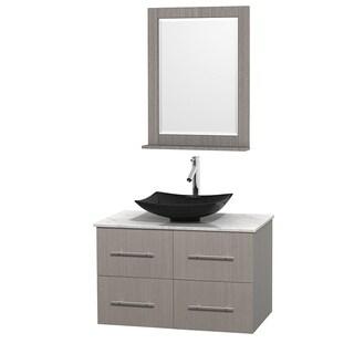 Wyndham Collection Centra 36-inch Single Bathroom Vanity in Grey Oak, w/ Mirror (Black Granite, Ivory Marble or White Carrera)