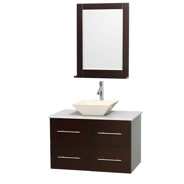 Wyndham Collection Centra 36-inch Single Bathroom Vanity in Espresso, w/ Mirror (Bone Porcelain or White Porcelain)