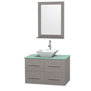 Wyndham Collection Centra 36-inch Single Bathroom Vanity in Grey Oak, w/ Mirror (Bone Porcelain or White Porcelain)