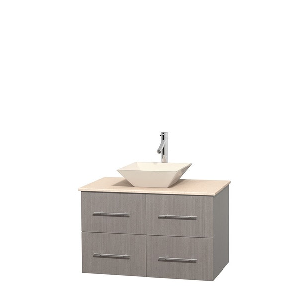 Wyndham Collection Centra 36-inch Single Bathroom Vanity in Grey Oak, No Mirror (Bone Porcelain or White Porcelain)