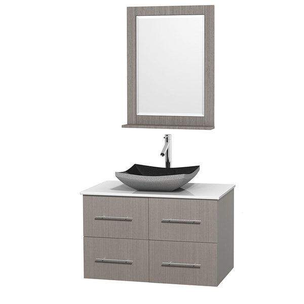 Wyndham Collection Centra 36-inch Single Bathroom Vanity in Grey Oak, w/ Mirror (Black Granite, Ivory Marble or White Carrera)