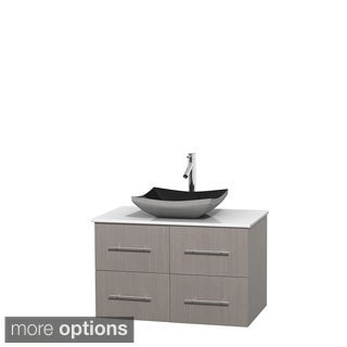 Wyndham Collection Centra 36-inch Single Bathroom Vanity in Grey Oak, No Mirror (Black Granite, Ivory Marble or White Carrera)