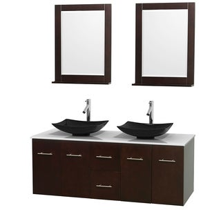 Wyndham Collection Centra 60-inch Double Bathroom Vanity in Espresso, w/ Mirrors (Black Granite, Ivory Marble or White Carrera)