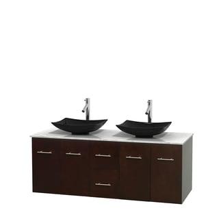 Wyndham Collection Centra Espresso 60-inch Double Carrera Marble Bathroom Vanity