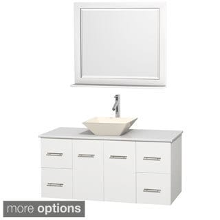 Wyndham Collection Centra White 48-inch Single White Man-made Stone Bathroom Vanity with Mirror